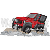 Clipart of a Cartoon Red Jeep Wrangler SUV on Rocks - Royalty Free Vector Illustration © Dennis Cox #1315517