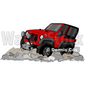 Clipart of a Cartoon Red Jeep Wrangler SUV on Boulders - Royalty Free Illustration © Dennis Cox #1315518