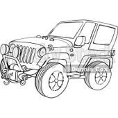 Outline Clipart of a Cartoon Black and White Jeep Wrangler SUV on Rocks - Royalty Free Lineart Vector Illustration © Dennis Cox #1315519