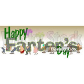 Clipart of Cartoon People Passing Gass over Happy Farters Day Text - Royalty Free Illustration © djart #1316362