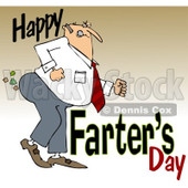 Clipart of a Cartoon Chubby White Father Passing Gas with Happy Farters Day, over Gradient - Royalty Free Illustration © djart #1316363