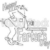 Lineart Clipart of a Cartoon Chubby Father Passing Gas with Happy Farters Day - Royalty Free Outline Vector Illustration © djart #1316364
