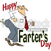 Clipart of a Cartoon Chubby White Father Passing Gas with Happy Farters Day - Royalty Free Vector Illustration © djart #1316365
