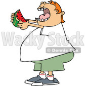 Clipart of a Cartoon Chubby Red Haired White Boy Ready to Devour a Watermelon - Royalty Free Vector Illustration © Dennis Cox #1316366