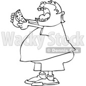 Lineart Clipart of a Cartoon Black and White Chubby Boy Ready to Devour a Watermelon - Royalty Free Outline Vector Illustration © djart #1316367