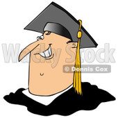 Clipart of a Cartoon Happy Chubby White Male Graduate Smiling, from the Shoulders up - Royalty Free Illustration © djart #1321108