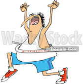 Clipart of a Cartoon Chubby White Man Cheering While Breaking Through a Race Finish Line - Royalty Free Vector Illustration © djart #1321110