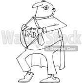 Lineart Clipart of a Cartoon Black and White Chubby Dad Showing His Super Hero Shirt - Royalty Free Outline Vector Illustration © Dennis Cox #1321113