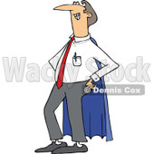 Clipart of a Cartoon Proud White Super Dad in a Blue Cape - Royalty Free Vector Illustration © djart #1321114