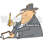 Clipart of a Cartoon Chubby White Man Writing on a Clipboard - Royalty Free Vector Illustration © djart #1321864