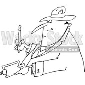 Lineart Clipart of a Cartoon Black and White Chubby Man Writing on a Clipboard - Royalty Free Outline Vector Illustration © djart #1321865