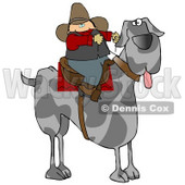 Silly Cowboy Riding a Giant Great Dane Instead of a Horse Clipart Illustration © Dennis Cox #13223