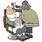 Man Shaving a Client in a Barber Shop Clipart Illustration © Dennis Cox #13224