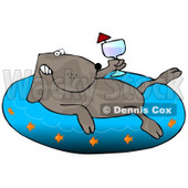 Happy Dog Drinking Wine and Soaking in an Inflatable Kiddie Pool Clipart Illustration © Dennis Cox #13229