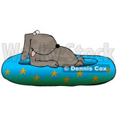 Happy Dog Soaking in a Kiddie Pool Decorated With Starfish Clipart Illustration © Dennis Cox #13230
