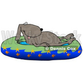 Hot Dog Soaking in a Kiddie Pool Decorated With Starfish and Goldfish Clipart Illustration © Dennis Cox #13231