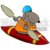 Sporty Dog Wearing a Life Jacket and Kayaking Clipart Illustration © Dennis Cox #13233