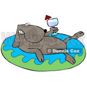 Relaxing Dog Drinking Red Wine and Soaking in an Inflatable Kiddie Pool Clipart Illustration © Dennis Cox #13237