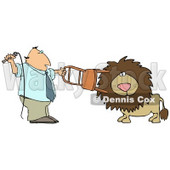 Male Lion Tamer Holding a Chair and Whip While Training the Cat Clipart Illustration © djart #13252