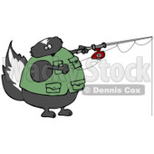 Skunk Wearing a Vest While Fishing Clipart Illustration © Dennis Cox #13254