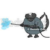 Skunk in Coveralls, Using a Pressure Washer Clipart Illustration © Dennis Cox #13256