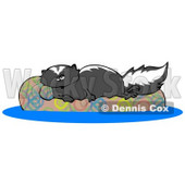 Lazy Skunk Relaxing on a Floaty in a Swimming Pool Clipart Illustration © djart #13257