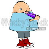 Chubby Boy Licking a Grape Popsicle Clipart Illustration © djart #13259
