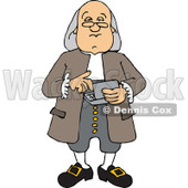 Clipart of a Cartoon Benjamin Franklin Using a Calculator - Royalty Free Vector Illustration © Dennis Cox #1331832