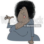 Clipart of a Cartoon Chubby Presenting Black Woman with Glasses and an Afro Hair Style - Royalty Free Vector Illustration © Dennis Cox #1334110