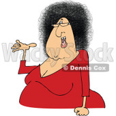 Clipart of a Cartoon Chubby Presenting White Woman with Glasses and an Afro Hair Style - Royalty Free Vector Illustration © djart #1334111