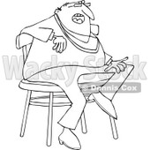 Lineart Clipart of a Cartoon Black and White Casual Chubby Man Sitting on a Stool - Royalty Free Outline Vector Illustration © djart #1334262