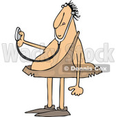 Clipart of a Cartoon Chubby Caveman Doctor Holding out a Stethoscope - Royalty Free Vector Illustration © djart #1337801