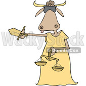 Clipart of a Cartoon Blindfolded Lady Justice Cow Holding a Sword and Scales - Royalty Free Vector Illustration © djart #1340961
