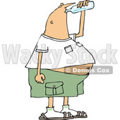 Clipart of a Cartoon Chubby White Man Drinking Water from a Bottle - Royalty Free Vector Illustration © Dennis Cox #1340962