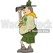 Clipart of a Cartoon Caucasian Scout Man Facing Left and Looking Through Binoculars - Royalty Free Vector Illustration © djart #1340964