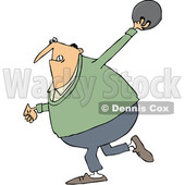 Clipart of a Cartoon Chubby White Man Swinging Back a Bowling Ball - Royalty Free Vector Illustration © djart #1341367