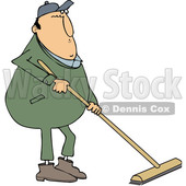 Clipart of a Cartoon Chubby Caucasian Worker Man Using a Push Broom - Royalty Free Vector Illustration © djart #1342246