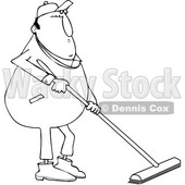 Lineart Clipart of a Cartoon Black and White Chubby Worker Man Using a Push Broom - Royalty Free Outline Vector Illustration © djart #1342247