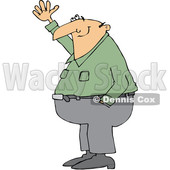 Clipart of a Cartoon Chubby White Man Smiling and Gesturing Upwards - Royalty Free Vector Illustration © djart #1344207