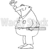 Outline Clipart of a Cartoon Black and White Chubby Man Smiling and Gesturing Upwards - Royalty Free Lineart Vector Illustration © djart #1344208