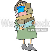 Clipart of a Cartoon Chubby White Woman Carrying a Lot of Boxes - Royalty Free Vector Illustration © djart #1344211