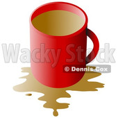 Clipart of a Red Coffee Cup with a Spill over White - Royalty Free Illustration © Dennis Cox #1345503