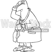 Outline Clipart of a Cartoon Black and White Chubby Man in His Robe, Scratching His Head and Holding a Coffee Mug - Royalty Free Lineart Vector Illustration © djart #1345517