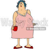 Clipart of a Cartoon Chubby White Woman in a Night Gown, Her Hair in Curlers, Smoking a Cigarette and Holding a Coffee Mug - Royalty Free Vector Illustration © djart #1345518