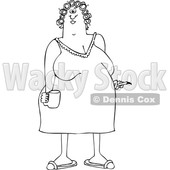 Outline Clipart of a Cartoon Black and White Chubby Woman in a Night Gown, Her Hair in Curlers, Smoking a Cigarette and Holding a Coffee Mug - Royalty Free Lineart Vector Illustration © djart #1345519