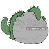 Big Green Dino Hiding Behind a Rock During a Game of Hide and Seek Clipart Illustration © djart #13462