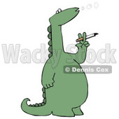 Rebellious Green Dino Standing on its Hind Legs and Blowing Out Circles of Smoke While Smoking a Cigarette Clipart Illustration © djart #13464