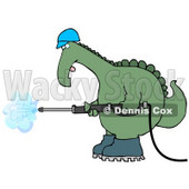 Big Green Dino in a Hard Hat and Boots Operating a Pressure Washer Clipart Illustration © Dennis Cox #13465