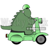 Green Biker Dino Wearing a Helmet and Riding a Green Scooter Clipart Illustration © Dennis Cox #13467