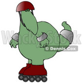 Big Green Dino in a Helmet and Pads, Rollerblading Clipart Illustration © Dennis Cox #13468